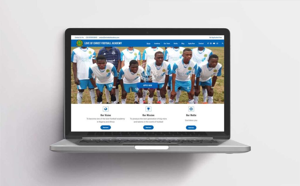 Web design for loc football academy