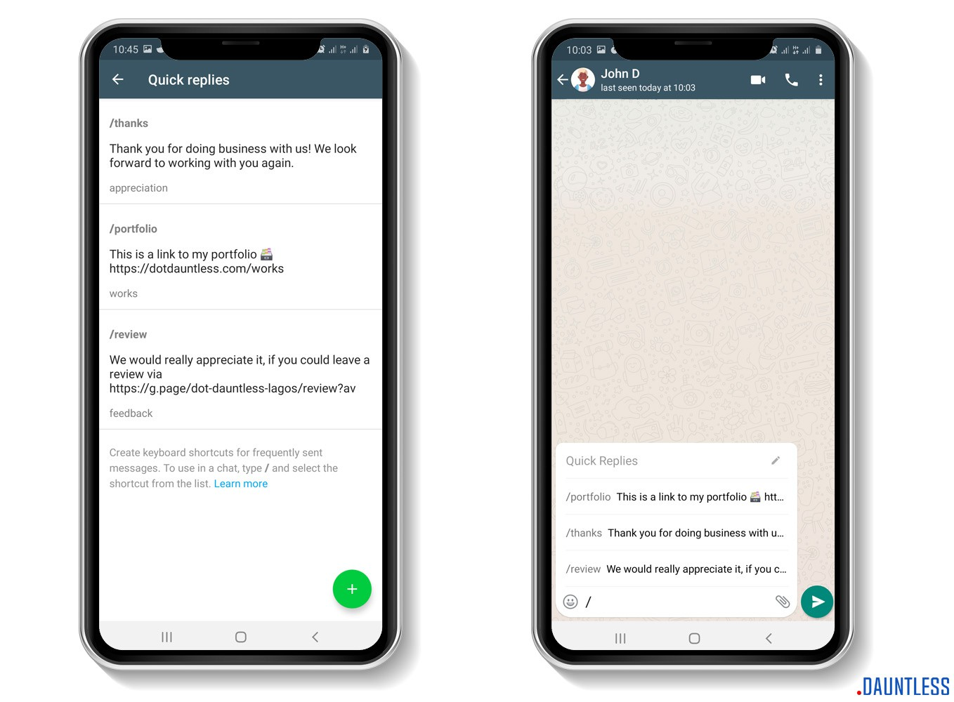 The quick reply feature or tool of the whatsapp business app
