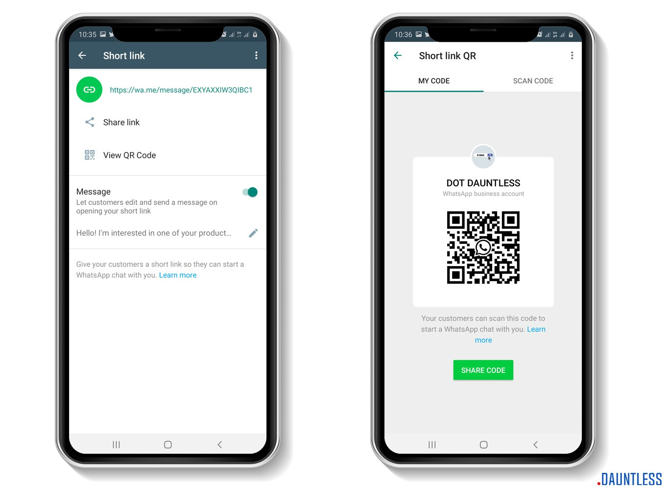 The share link and QR code feature or tool of the whatsapp business app
