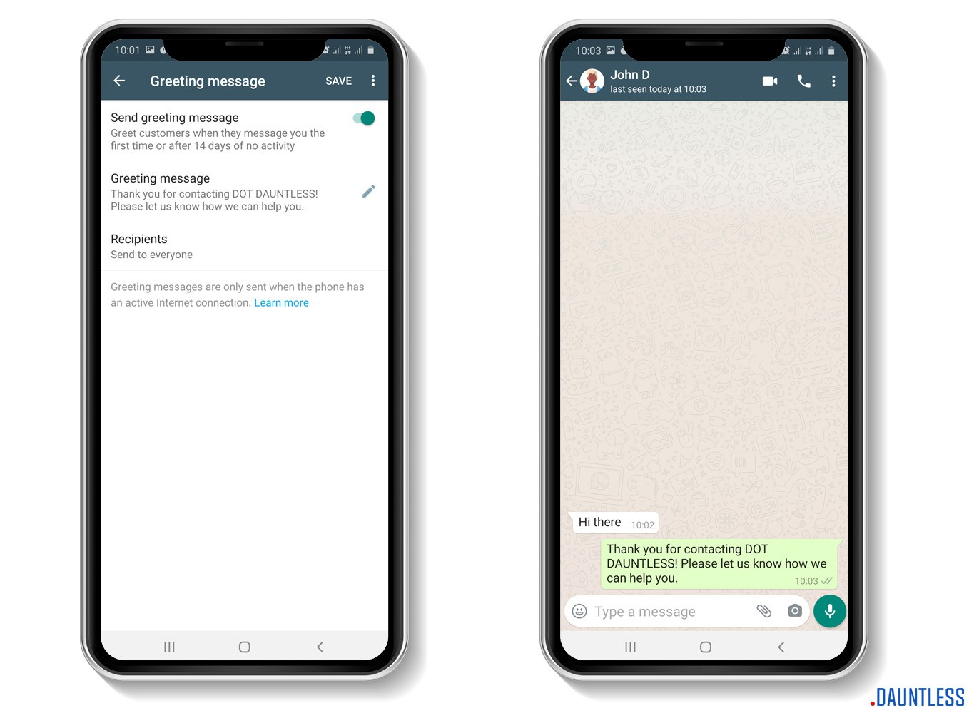 The greeting message feature or tool of the whatsapp business app