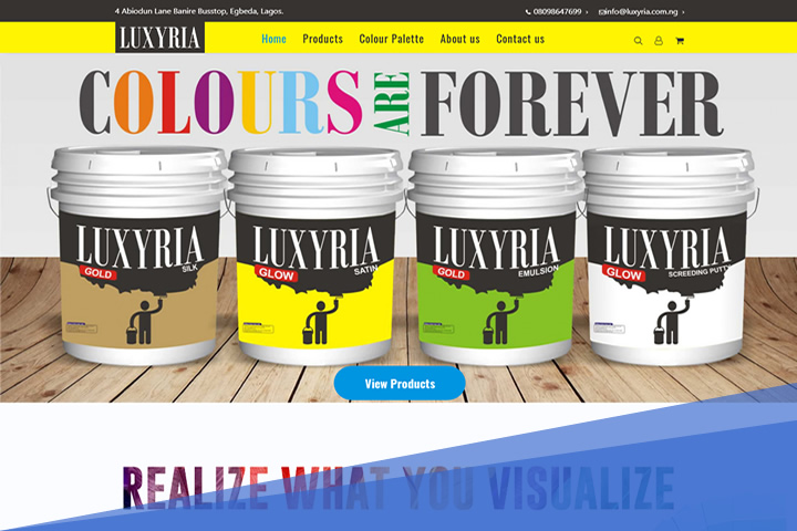 web design of luxyria paints by dot dauntless